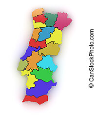 Three-dimensional map of Portugal. 3d - Three-dimensional...