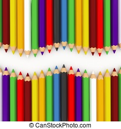 3d colourful pencils wave isolated on white background