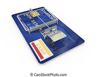Credit card as mousetrap. Conceptual image. 3d