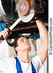 coche, mecánico, taller