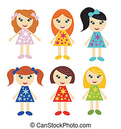six little girls on white