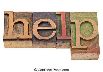 help word in letterpress type