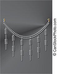 Necklace under black pearls on a grey background