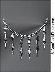collar, debajo, negro, perlas