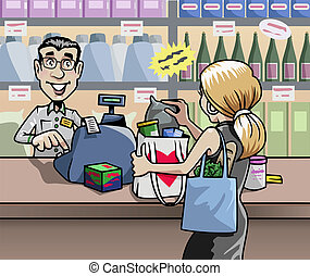 At the shop - Cartoon-style illustration: a blond woman in a...