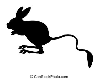 vector silhouette jerboa on white background