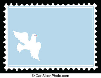 vector silhouette dove on postage stamps