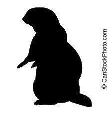 vector silhouette gopher on white background