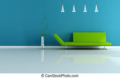 modern blue and green interior