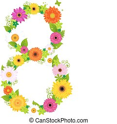 International Women Day - Flower With Circle, Element For...