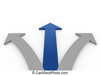 3d arrow blue gray isolated white background