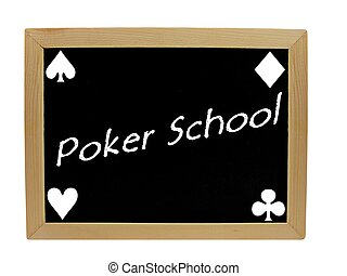 Poker school on chalkboard - A blackboard with the words...