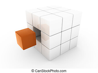 3d business cube orange white