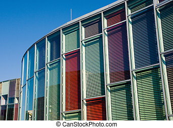 Colourful glass facade - Beautiful glass facade in different...