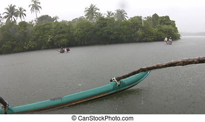 Tropical rain  Boat. Asia