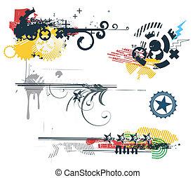 Design Elements - Vector set of Grunge Design Elements