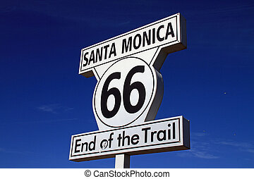 Route 66 Sign - Historic Route 66 sign at the end of the...