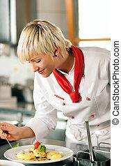 Chef, restaurante, cocina, cocina