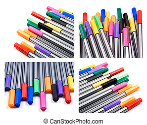 Collage of pens in different colors