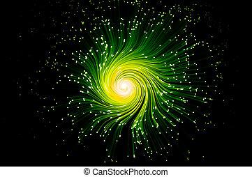 Abstract green telecommunications swirl - Many illuminated...