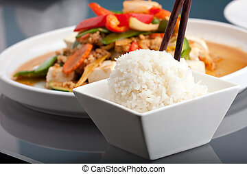 Thai Food and Jasmine Rice - Fresh Thai food stir fry with...