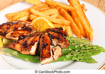 Chicken breasts with asparagus and sauce - Baked, marinaded...