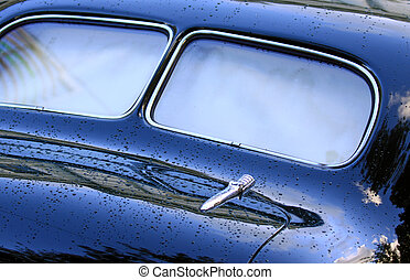 Rear view of classic car - Rear window view of the vintage...