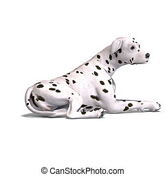 Dalmation Dog 3D rendering with clipping path and shadow...