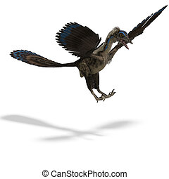 Dinosaur Archaeopteryx 3D rendering with clipping path and...