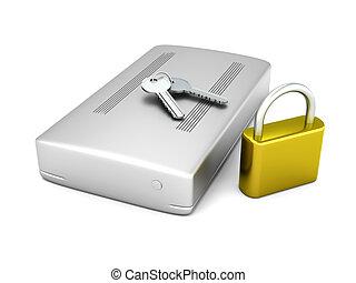 Secure external Hard Drive - 3D rendered Illustration. A...