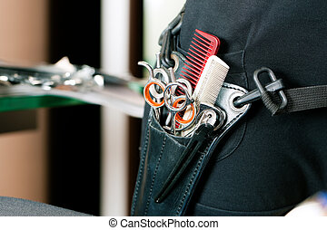 Scissor bag or holster of hairdresser - Closeup of Scissor...
