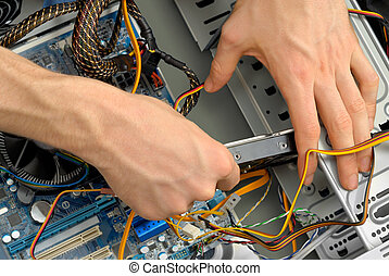 Inserting a hard drive - A new hard drive is being inserted...