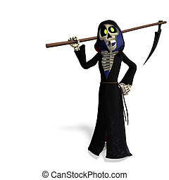 funny cartoon reaper. 3D rendering with clipping path and shadow over white