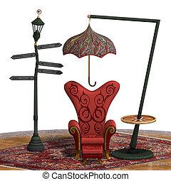 非常に, 超現実的, レンダリング, 椅子,...