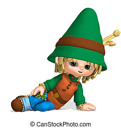 cute and funny cartoon farmer boy 3D rendering with clipping...