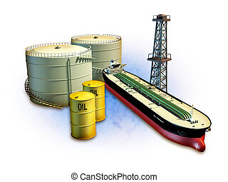 Oil industry - Oil themed composition showing an oil tanker,...