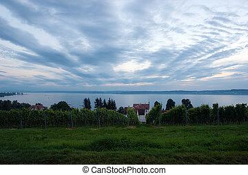The Meersburg vineyards at the northern banks of Lake...