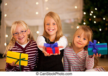 Christmas and Family - Girls with presents