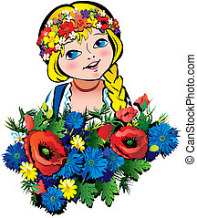 Girl with flowers - Beautiful girl with flowers Vector...