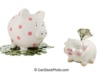 Piggy bank on coins stares at another piggy bank holding a 100 dollar bill.