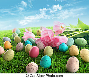 Easter eggs with pink tulips on grass with blue sky