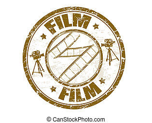 Film stamp - Grunge rubber stamp with film strip shape and...