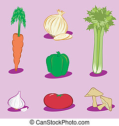 Vegetable Icons 1 - Carrot, onion, celery, green bell...