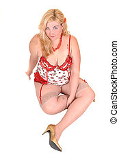 Big girl - An big overweight woman in beige lingerie and...