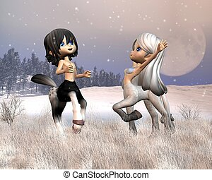 Cute Toon Centaurs playing in snow