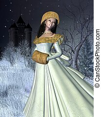 Snow Princess and Fairytale Castle - Snow princess standing...
