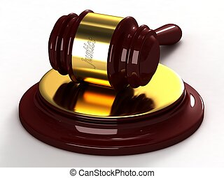 Judges hammer with a gold insert and a labeled of justice