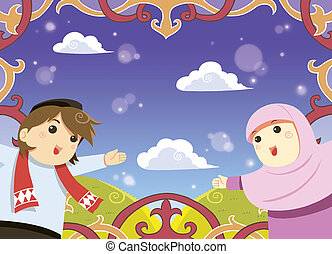 Muslim greeting card - Eid mubarak greeting card