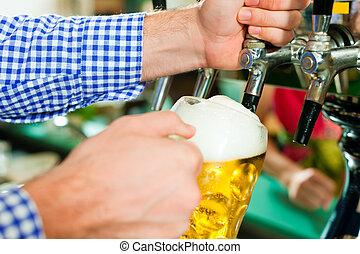 homem, desenho, Cerveja, torneira