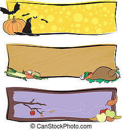 Fall Banners - Three fall banners with copy space Designs...